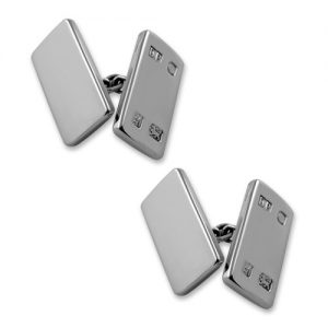 Sterling silver feature hallmark double-sided cufflinks
