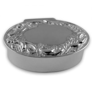 Sterling silver oval garland pill box