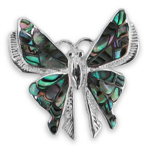 Sterling silver oyster shell butterfly brooch