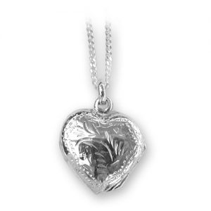 Sterling silver heart locket engraved