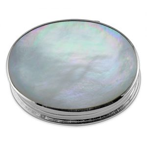 Sterling silver mother of pearl oval pill box