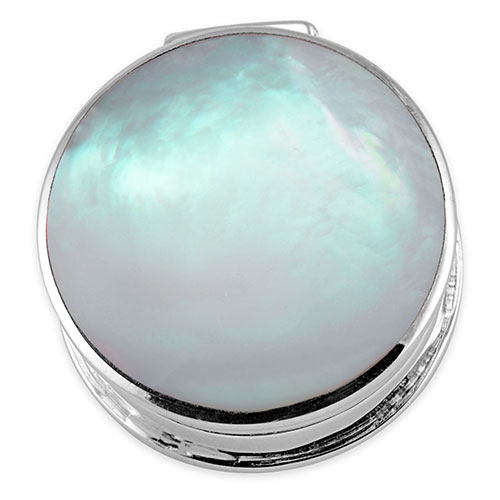 Sterling silver mother of pearl round pill box