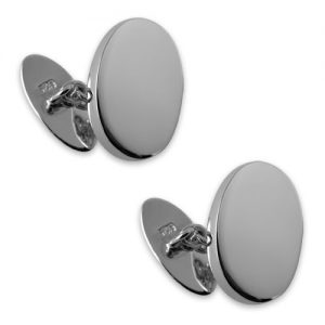 Sterling silver plain oval cufflinks