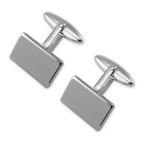 Silver plated plain rectangular cufflinks