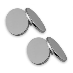 Sterling silver plain double-sided cufflinks