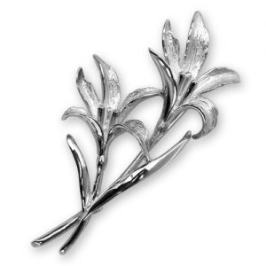 Sterling Silver Plated Lily Brooch