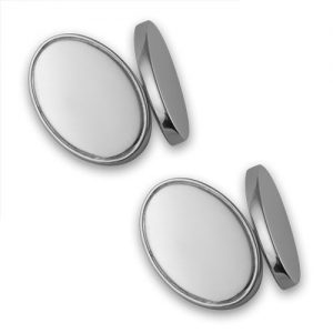 Silver plated double-sided oval cufflinks