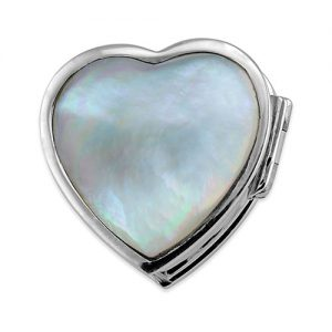 Sterling silver mother of pearl heart pill box