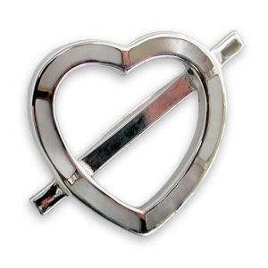 Sterling silver mother of pearl heart brooch