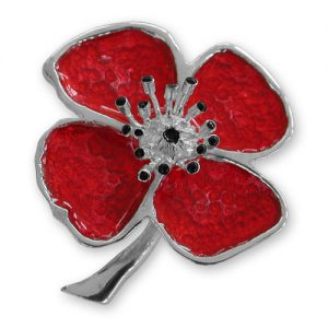 Sterling Silver Plated Poppy Brooch