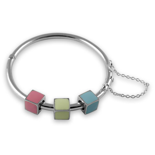 Sterling silver building block bangle