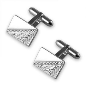 Silver plated hand engraved rectangular cufflinks