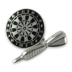 Sterling silver black enamel dart & dartboard cuffkinks