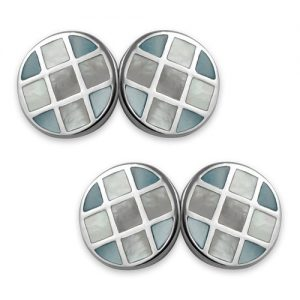 Sterling silver blue mother of pearl double-sided cufflinks