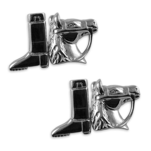 Sterling silver horse & riding boot cufflinks