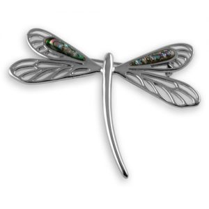 Sterling silver oyster shell dragonfly brooch
