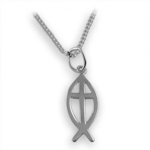 Sterling silver fish & cross pendant
