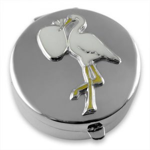 Sterling silver stork & baby keepsake box