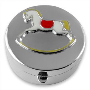 Sterling silver rocking horse keepsake box