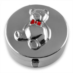 Sterling silver teddy bear keepsake box