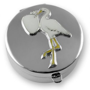 Sterling silver stork & baby tooth box
