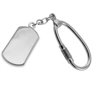 Sterling Silver Plated Oblong Keyring