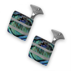 Sterling oyster shell wave cufflinks