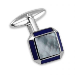 Sterling Silver Cufflinks Sq MOP with Lapis Edge