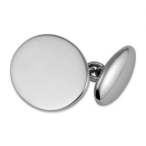 Sterling Silver Oval Chain Cufflinks