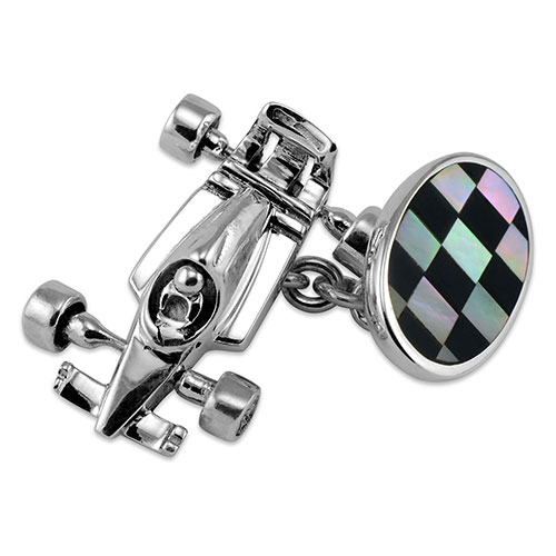 Sterling Silver Racing Car & Flag Cufflinks