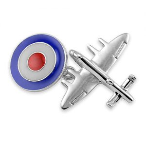 Sterling Silver Bomber Plane with RAF Roundel Cufflinks