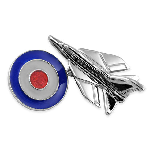 Sterling Silver Fighter Jet with RAF Roundel Cufflinks