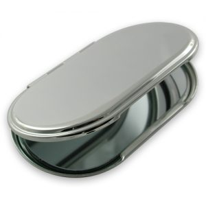 Silver plated oval handbag mirror