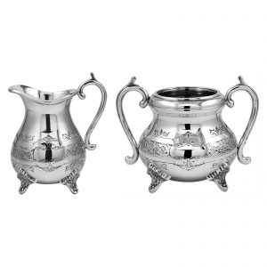 Silver Plated Louis Philippe Engraved Sugar & Cream set (large)