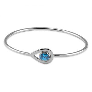 Sterling silver blue topaz bangle