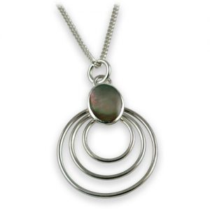 Sterling silver black shell pendant